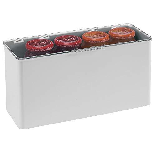 mDesign Cajón de plástico sin BPA – Caja con tapa de diseño apilable, ideal para organizar la cocina, la habitación infantil o el baño – Cajas de ordenación multiusos – gris claro y transparen