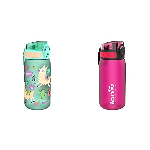 Ion8 Leak Proof Kids' Water Bottle, BPA 400ml / 13oz, Llamas & Leak Proof Kids' Water Bottle, BPA Free, Pink