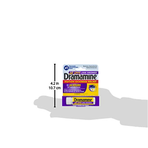 Dramamine All Day Less Drowsy Motion Sickness Relief | 8 Tablets | Pack of 3 | 3 Count