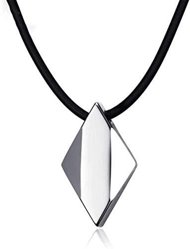 NC110 Collar con Colgante de Estilo Minimalista para Hombre, Acero de tungsteno, joyería con Forma de Diamante Suave Creativa, Cadena Negra de Moda YUAHJIGE