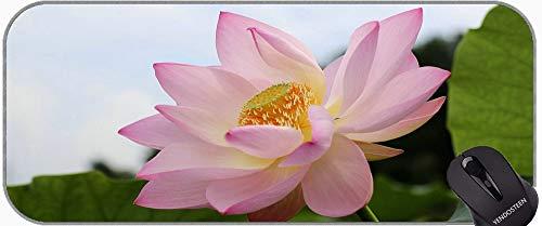Pose de Loto con Chakra Alfombrillas de ratón, Estera de Escritorio de Flores de Loto con Borde Cosido