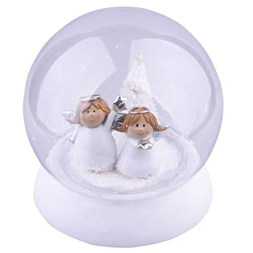 Dadeldo Home Schneekugel Engel LED-Deko Resin 16x15x15cm Weiss Weihnachten