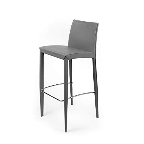 BJL-Barhocker Barhocker - mit Rückenlehne Hochstuhl Barhocker Haushalt Softcase Loft Stuhl Chrom Fußstütze OYO (Color : Gray)
