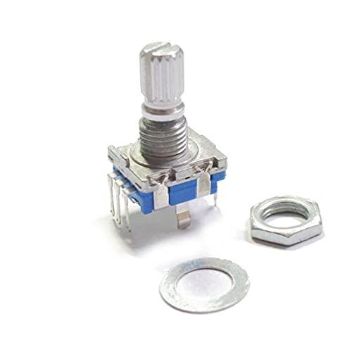 JSJJAET Interruptor Giratorio 5pcs / Lote codificadores rotativos 15 mm Plum Mango de Audio potenciómetro Digital con Interruptor 5 Pin Encoder incremental