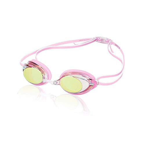 Speedo Women's Vanquisher 2.0 Mirrored Swim Goggles, Panoramic, Anti-Glare, Anti-Fog with UV Protection, Pink