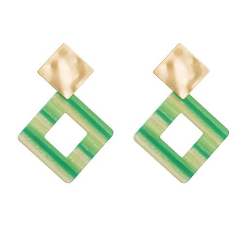 RONGW JKUNYU European and American style square plate stripe pattern earrings exaggerated personality exquisite high-grade bohemian earrings