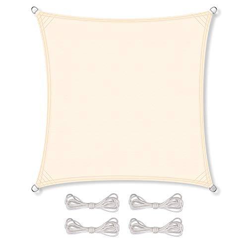 CelinaSun Sonnensegel inkl Befestigungsseile PES Polyester wasserabweisend imprägniert Quadrat 4 x 4 m Creme weiß