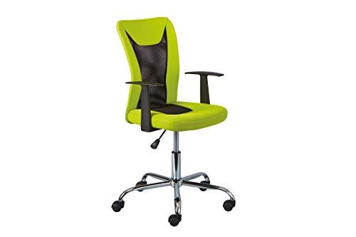 Inter Link Drehstuhl Bürostuhl Kinderdrehstuhl höhenverstellbar mit Armlehnen in Grün und Schwarz