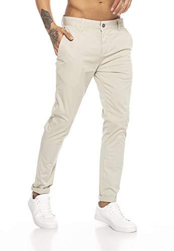 Redbridge Pantalones para Hombres Chino-Pants de algodón Stretch Elegantes Beige Claro