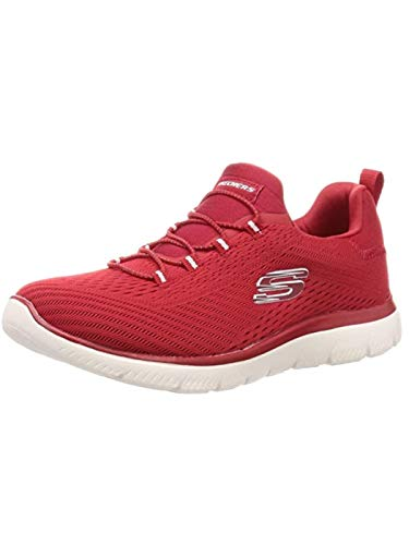 Skechers Summits Fast Attraction, Zapatillas para Mujer, Rojo (Red Mesh/White Trim Red), 37 EU