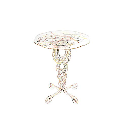 iPLEX - Tavolino da caffè Stile Arabesco in plexiglass Trasparente, Schizzo Artistico colorato, Dim. 60x50x50 cm Made in Italy