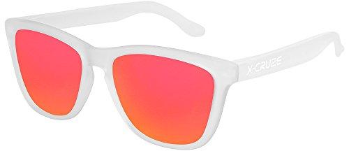 X-CRUZE® 9-050 X0 Nerd Sonnenbrillen polarisiert Style Stil Retro Vintage Retro Unisex Herren Damen Männer Frauen Brille Nerdbrille - transparent matt LW/rot-orange verspiegelt