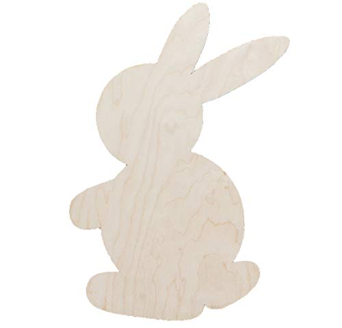 6-Pack Bunny Rabbits Easter with or without Holes Unfinished Wood Cutout DIY Crafts Door Hanger Ready to Paint Cut Out Birch Plywood All Sizes