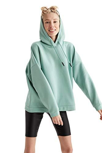 DeFacto Jersey para mujer de corte suelto, 55 % poliéster, 45 % algodón, sudadera con capucha para mujer verde S