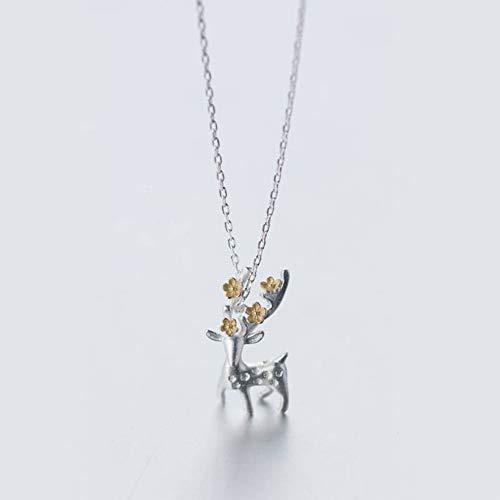 Thumby S925 Zilveren Ketting Vrouwelijke Zon Wind Scrub Herten Ketting Zoete Verzilverde Pruik Korte Ketting, S925 zilveren set ketting, Zoals getoond