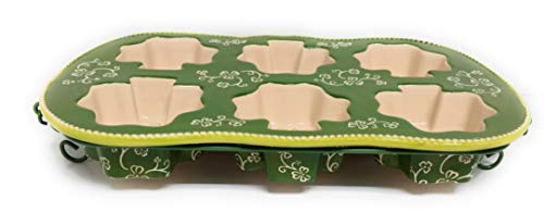 Temp-tations Texas Sized Muffin or Cornbread Dish, Shamrock Shape Cups, Cakelet Pan (Floral Lace Shamrock)