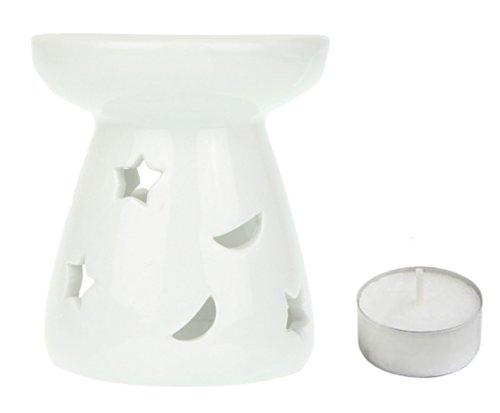 Lune & étoiles lampe à parfum avec bougie à chauffe-plat – Céramique – Blanc – 9 cm