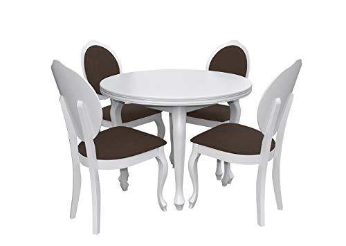 Esstisch Stuhl Set RB05 Essgruppe, Tischgruppe, Große Farb- und Materialauswahl, Sitzgruppe Esstischgruppe, Esszimmergarnitur, Oval Esstisch, Praktischer Auszugstisch (Weiß, Casablanca 2308)