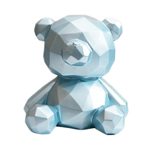 LMJ Hucha de cerdito con diseño geométrico de oso para niñas, hucha creativa, hucha de monedas para decoración de manualidades, inauguración de la casa, tarro de dinero (color: azul)