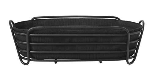 Blomus Brotkorb schwarz oval - Brotkörbchen aus pulverbeschichtetem Stahl und Baumwoll-Stofftasche