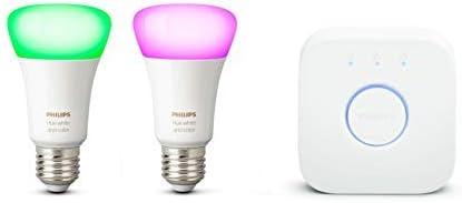 Philips Hue Kit de démarrage Ampoules LED connectées White & Color Ambiance E27, Pack de 2 + pont de connexion, Fonct...