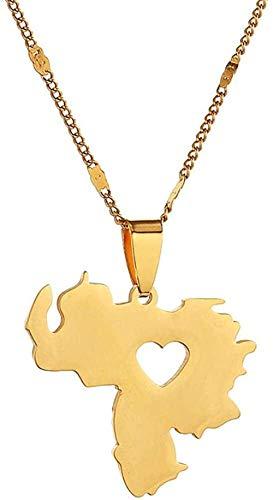 Zaaqio Collar de Acero Inoxidable con Colgante de Mapa de Venezuela, joyería, joyería con Encanto de Mapa venezolano