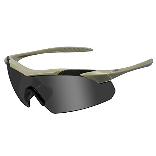 Wiley X Vapor Tan Frame with Grey, Clear and Light Rust Lens Shields