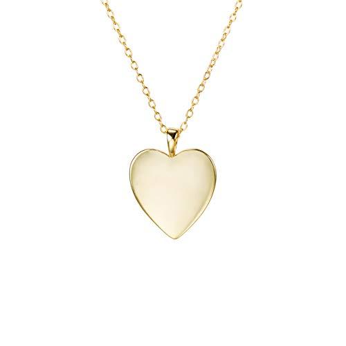 Herzkette aus 925 Silber (14k vergoldet). Goldkette als Geschenk für Damen und Mädchen mit 40 + 5 cm Kettenlänge und 16 mm Anhänger