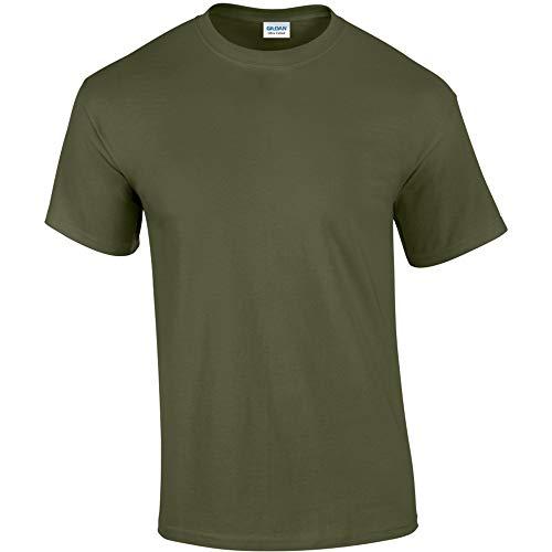 Gildan - Camiseta básica de manga corta Modelo Ultra Cotton para hombre caballero (Pequeña (S)/Verde militar)