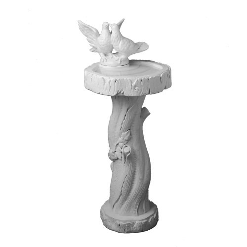 fantasieco! Vogeltraenke Taubenpaar - Garten Dekoration frostfest - Marmor Weiss