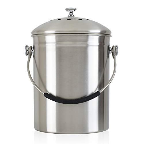 Sale!! Gold Star Kitchens Compost Bin - Premium Quality SAE304 Surgical Grade Stainless Steel Pail -...