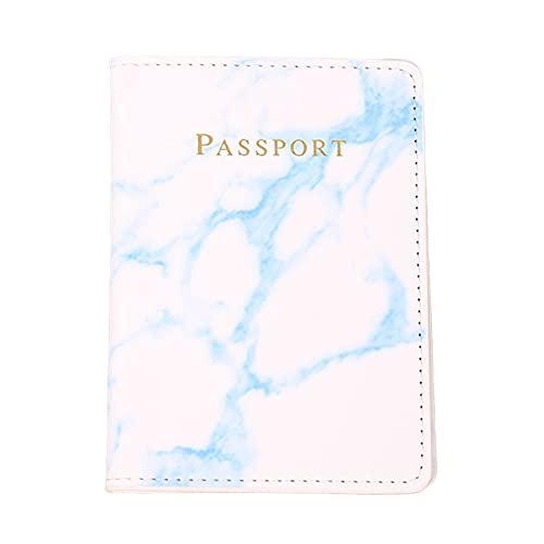 SJHFG - Custodia per passaporto, in pelle sintetica, stile marmo, da viaggio, per carta di credito, passaporto, colore: blu