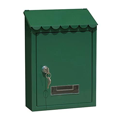 non_brand Buzón a Prueba de Herrumbre 22x6.5x30cm Buzón de Correo Montado en La Pared Caja Segura - Verde, Individual