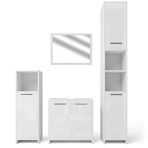 VICCO Badmöbel Set Kiko Weiß Hochglanz/Grau Beton - Badspiegel + Unterschrank + Bad Hochschrank + Bad Midischrank (Weiß Hochglanz, Set 4)