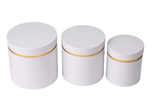 Juego de 3 cajas de flores redondas, caja de almacenamiento con tapa, color liso, cajas de regalo, personalizables (blanco con oro XL)