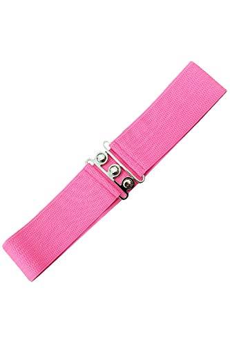 Banned Retro Vintage 1950's Elasticated Wide Nurse Belt - Hot Pink (Small -...