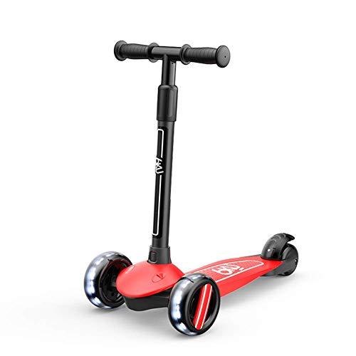 AWJ Kids Stunt Scooter, Pedal Scooter mit verdicktem Boden im Doppelschiebemodus, höhenverstellbar, geeignet für 2-10 Jahre, rot