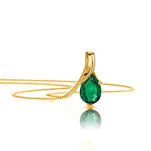 Orovi bijoux femme, collier en or jaune avec pendentif Émeraude pierre précieuse 0.73 Ct chaîne 45 cm 9 Kt / 375 Or