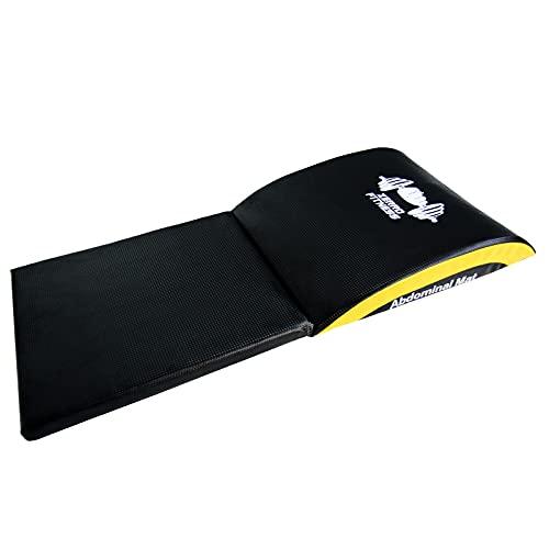 CCLIFE Ab Tappetino Addominale tappetini per Il Fitness, Sit Up Support Pad, Colore:Nero e Giallo, con Estensione
