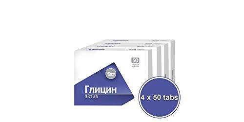 Forafarm 4 paquetes de 50 pastillas de glicina, 100 mg cada uno, suplemento alimenticio
