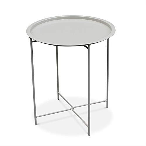 Table Basse Ronde – Alexia Gris Taupe – Table d'appoint Ronde Ø46cm, Acier thermolaqué