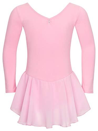 tanzmuster ® Ballettkleid Mädchen Langarm - Anna - aus weichem Baumwollstoff mit Glitzersteinen und Chiffon Röckchen fürs Kinder Ballett Ballettbodyin rosa, Größe:128/134