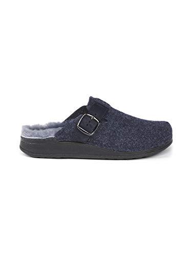 Avena Herren Lammfell-Pantolette Wollfilz Blau Gr. 40