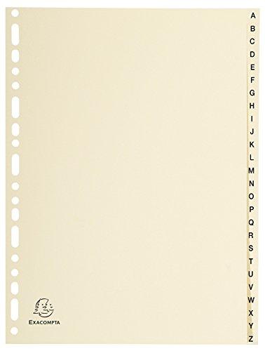 Exacompta 1126E Karton-Register A-Z für DIN A4 aus Karton 26-teilig volle Höhe 21 x 29,7 cm elfenbein mit bedruckten Taben Universallochung Trennblätter Trennstreifen Ordner-Register