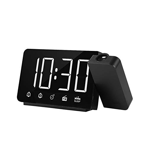 Alarm Clock with Projection on Ceiling, Kecheer 180° Rotated Projector Digital Projection Alarm Clocks for Bedrooms with FM Radio Snooze Function, 4 Dimmer 2 Alarm USB Charging Digital Clock 12H/24H