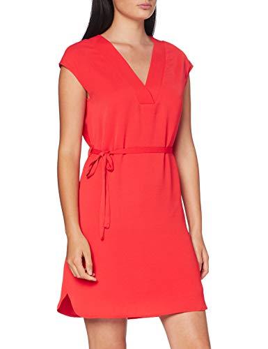Vila Clothes Vijahula S/s Belt Dress/su Vestido, Llama Escarlata, 38 para Mujer