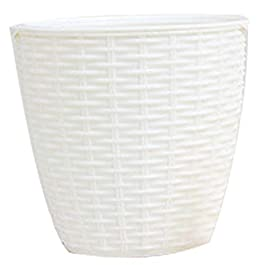 Classicoco Cache-Pot en Plastique intérieur en rotin Fleur Couvercle Rond Moderne décor planteur Durable