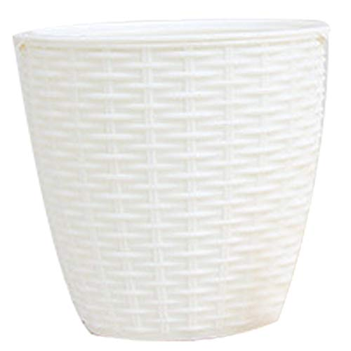 Huaheng - Maceta de riego automático, cubierta de plástico de ratán para interiores, Blanco, Small