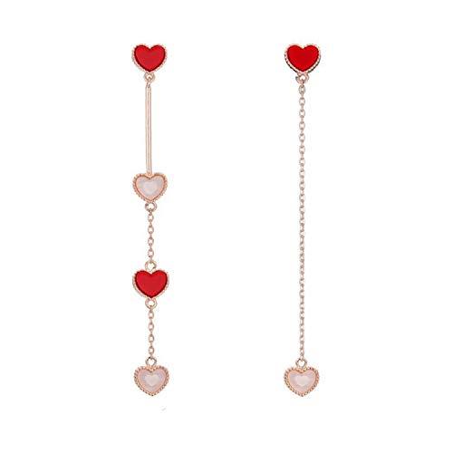 Presock Pendientes Mujer,Aretes NEW Korean New Fashion Sweet Heart Asymmetric Drop Earrings For Women Elegant Ear Line Temperament Orecchini Brincos