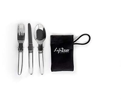LIFE 2 GO 3-Piece Stainless Steel Folding Utensil Set/Silverware with Storage Case includes a Fork, Spoon, and Knife and is portable, lightweight with a strong and compact design.